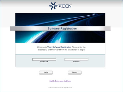 Vicon Software Registration